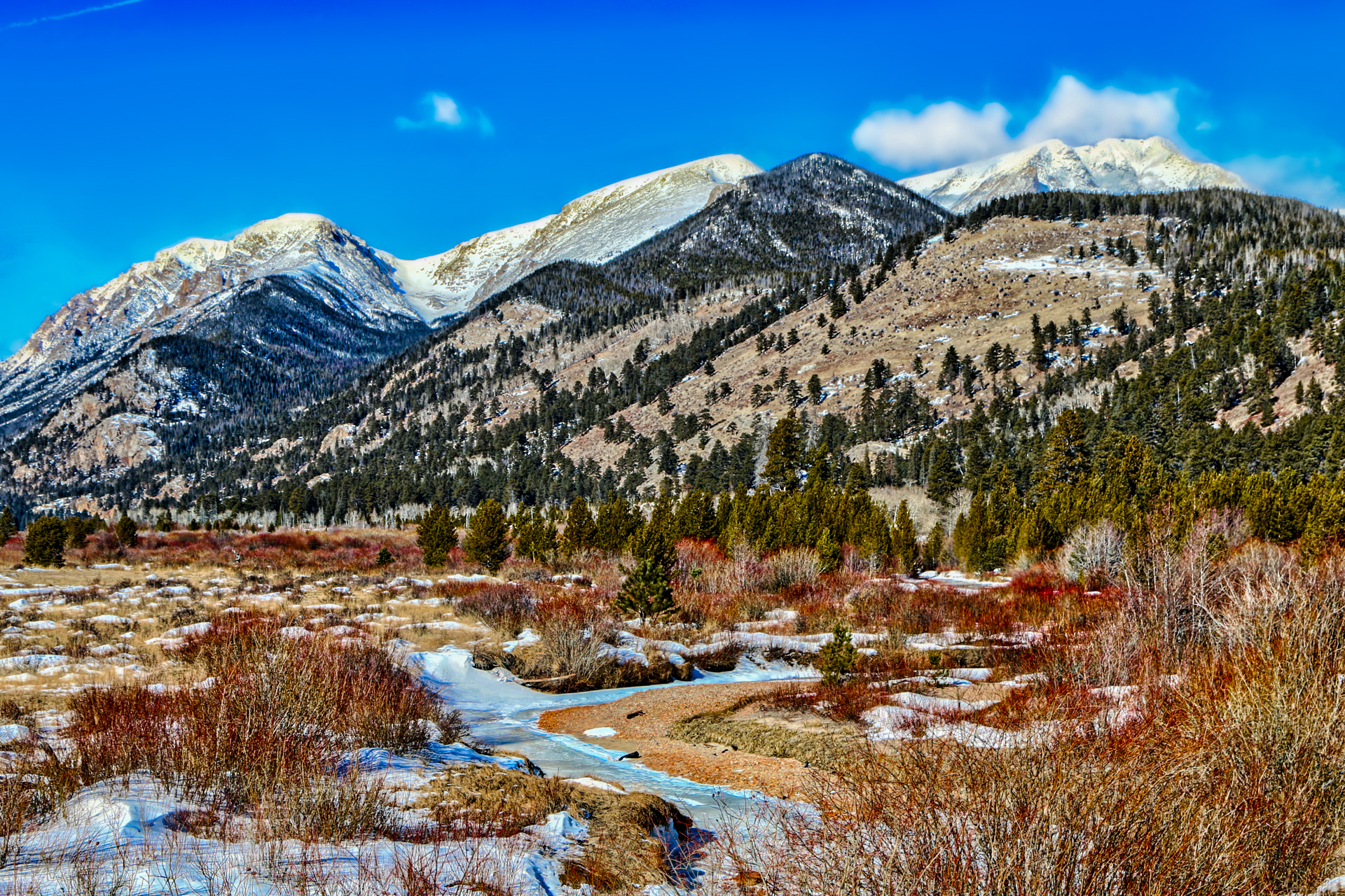 One of the more popular areas during the summer in Rocky Mountain National Park is the Alluvial Fan, which sits in Horseshoe Park, near the start of Fall River Road. During the winter, solitude can occasionally be found in this peaceful valley.