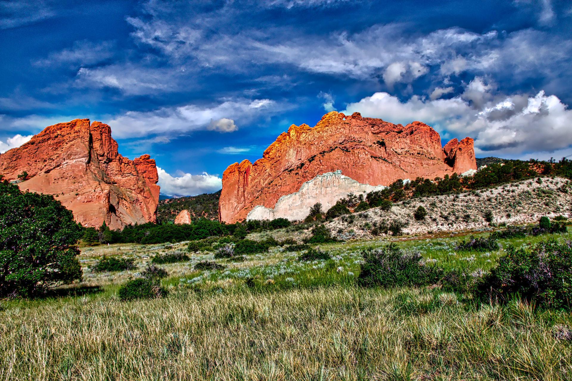 The clouds, sky, grass, and rock formations just seemed to all come together in this photo. Red Rocks, in Colorado Springs, CO, is a truly specular place to visit.